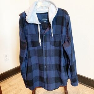 Modern Amusement Blue Plaid Flannel Hoodie  546